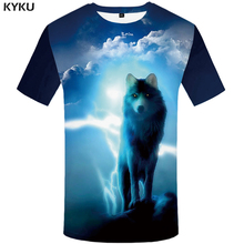 KYKU Brand Wolf T Shirt Men Animal Tshirt Punk Rock Clothes Cloud Lightning 3d Print T-shirt Hip Hop Mens Clothing 2018 Summer