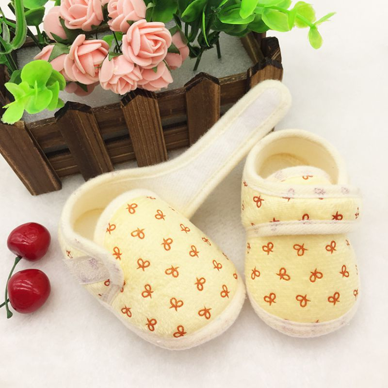 Cute Bowknot Print Baby Shoes Infant Girl Boy Anti-slip Soft Cotton Soled Sneaker