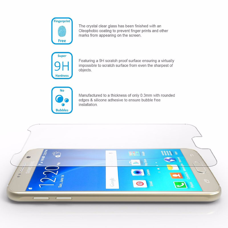 0 28mm 9H Tempered Glass For Samsung Galaxy S6 J3 J5 J7 A7 A3 A6 A8 2016 2017 2018 Screen Protector Protective Film Case Glass in Phone Screen Protectors from Cellphones Telecommunications