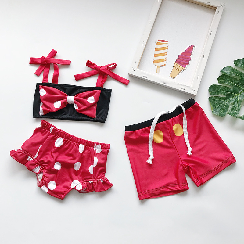 Children's Clothing Summer Girls Cute Bow Swimsuit Men's Swimming Trunks Red Polyester Spandex Nylon Skin-friendly Fabric(China)