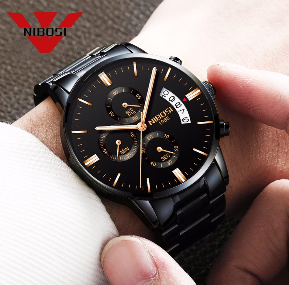 Relojes de hombre NIBOSI Relogio Masculino, relojes de pulsera de cuarzo de estilo informal de marca famosa de lujo para hombre, relojes de pulsera Saat 8