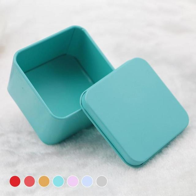Square Tea Candy Storage Box Wedding Favor Tin Box Sundries Earphone Cable Organizer Container Receive Box Christmas Gift Case