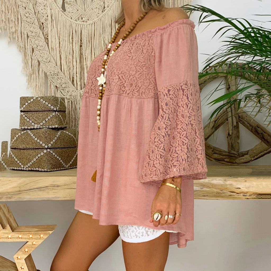 feitong 2019 summer female top tee shirt Women  Casual Off Shoulder Solid  Long Flare Sleeve Lace Patchwork Tops Blouse #626
