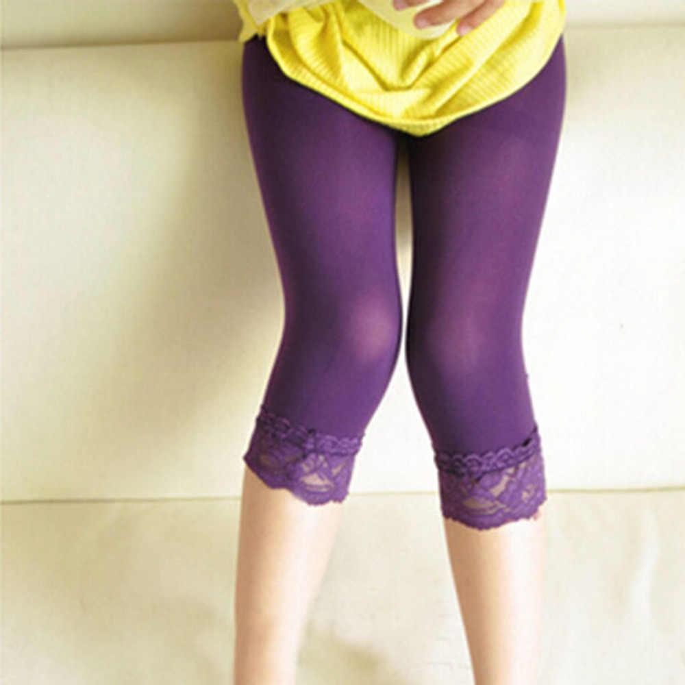 fc0f125b087220 ... 1Pc Girls Lace Velvet Leggings Summer Kids Stretch Solid Toddler Skinny  Capris Pants Bottoms Leggings Cropped