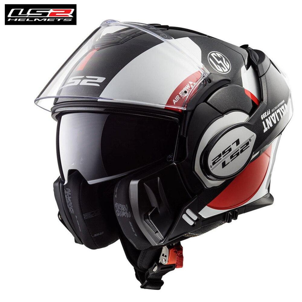 LS2 valiente Flip Up Modular de la motocicleta gira Casco Capacete Casco Casque Moto abierto cara completa cascos Kask timón crucero