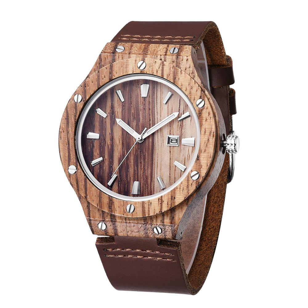 GUCAMEL Zebra Pattern Leather Strap Bamboo Watches For Men