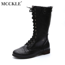 MCCKLE Female Zip Lace Up Vintage Style Comfortable Black Chunky Heel Mid Caif Boots 2017 Women's Fashion Plus Size Shoes
