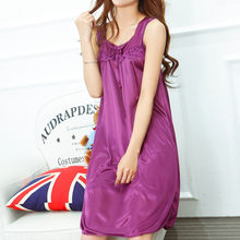 Casual O-neck women sleepwear sleeveless plus size nightgown korean style women clothing 7 colors high elastic women Lingerie(China)
