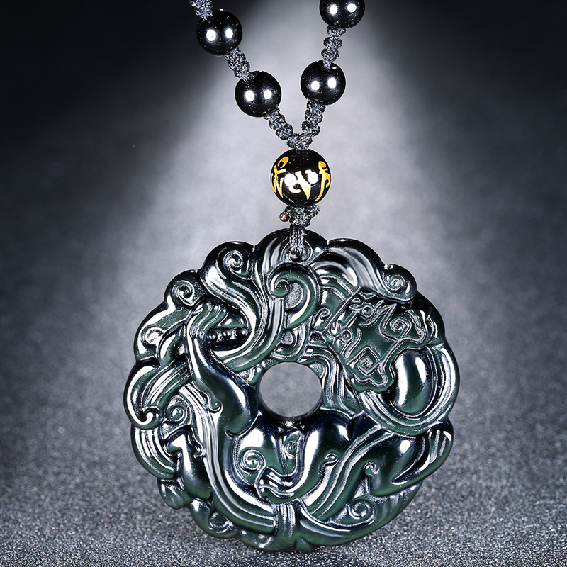 Necklaces & Pendants Female Necklace Hot Lucky Pendant Necklace Natural Obsidian Carved Chinese Dragon Phoenix Bagua Men Women Jewelry Gift Promoting Health And Curing Diseases Jewelry & Accessories