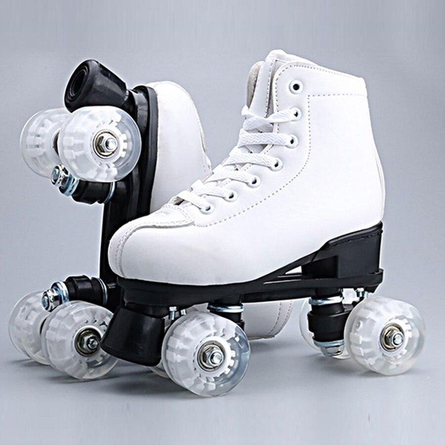 Japy patins à roulettes en cuir artificiel Double ligne patins femmes hommes adulte deux lignes chaussures de patinage Patines avec blanc PU 4 roues - 3