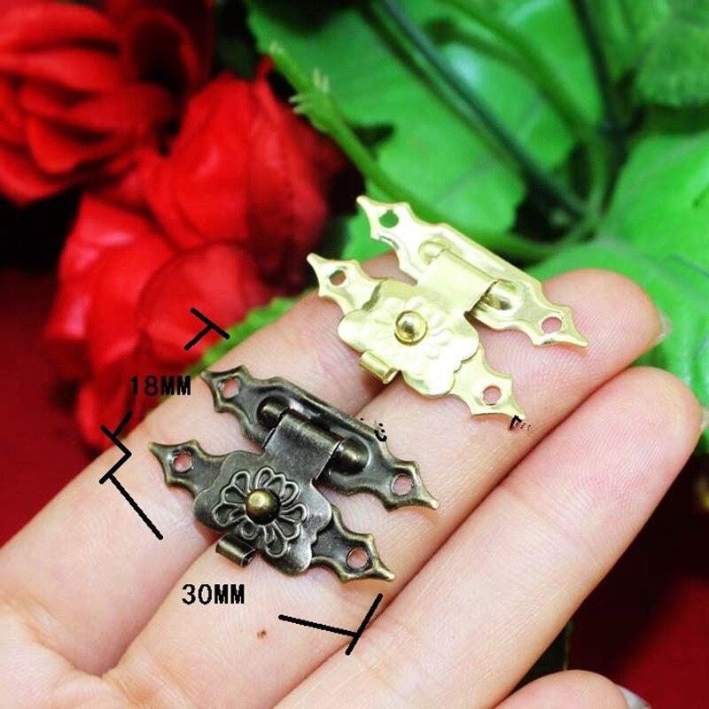 10 Stücke 30*18mm Antike Eisen Schmuck Box Vorhängeschloss Haspe Gesperrt Holz Wein Geschenk Box Handtasche Schnalle Hardware Zubehör