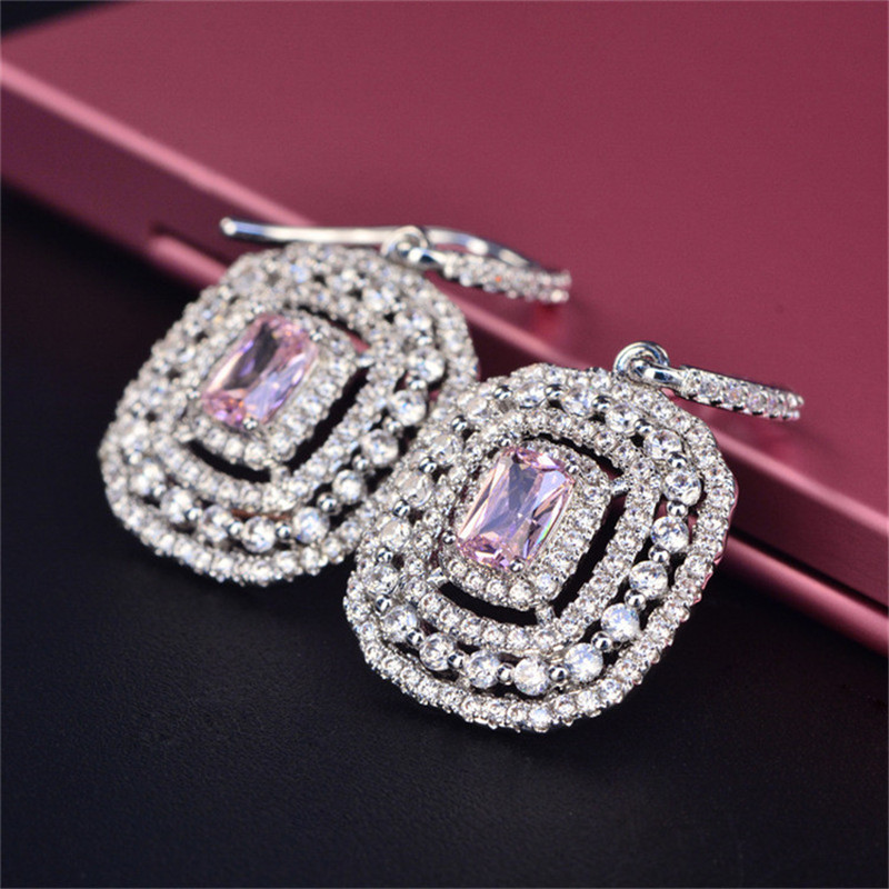 HTB1DcdqcKuSBuNjy1Xcq6AYjFXaD Eardrop Earrings For Women S925 Sterling Silver Topaz Temperament Elegant White & Pink Diamant Wedding Brincos Fine Jewelry