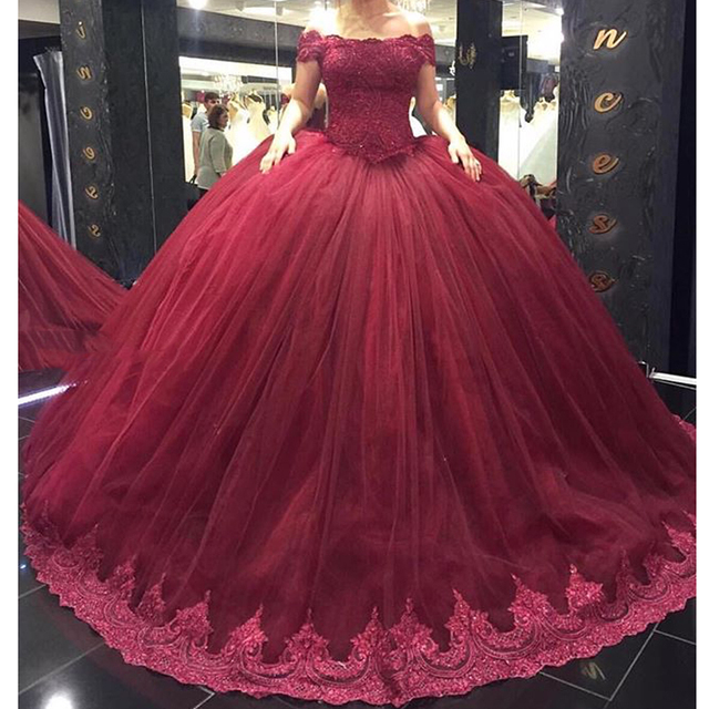 a6fdd657fc9 Glamorous Burgundy Off the Shoulder Short Sleeve Appliqued Puffy Princess Prom  Dresses