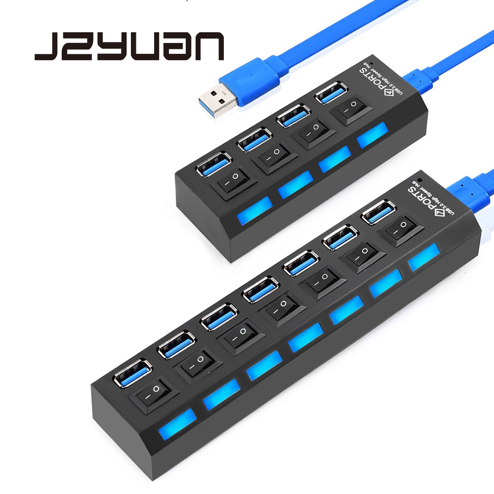 JZYuan USB HUB 3 0 4 7 Ports High Speed Portable USB 3 0 HUB Splitter On Off Switch For PC Notebook Macbook Laptop accessories in USB Hubs from Computer Office