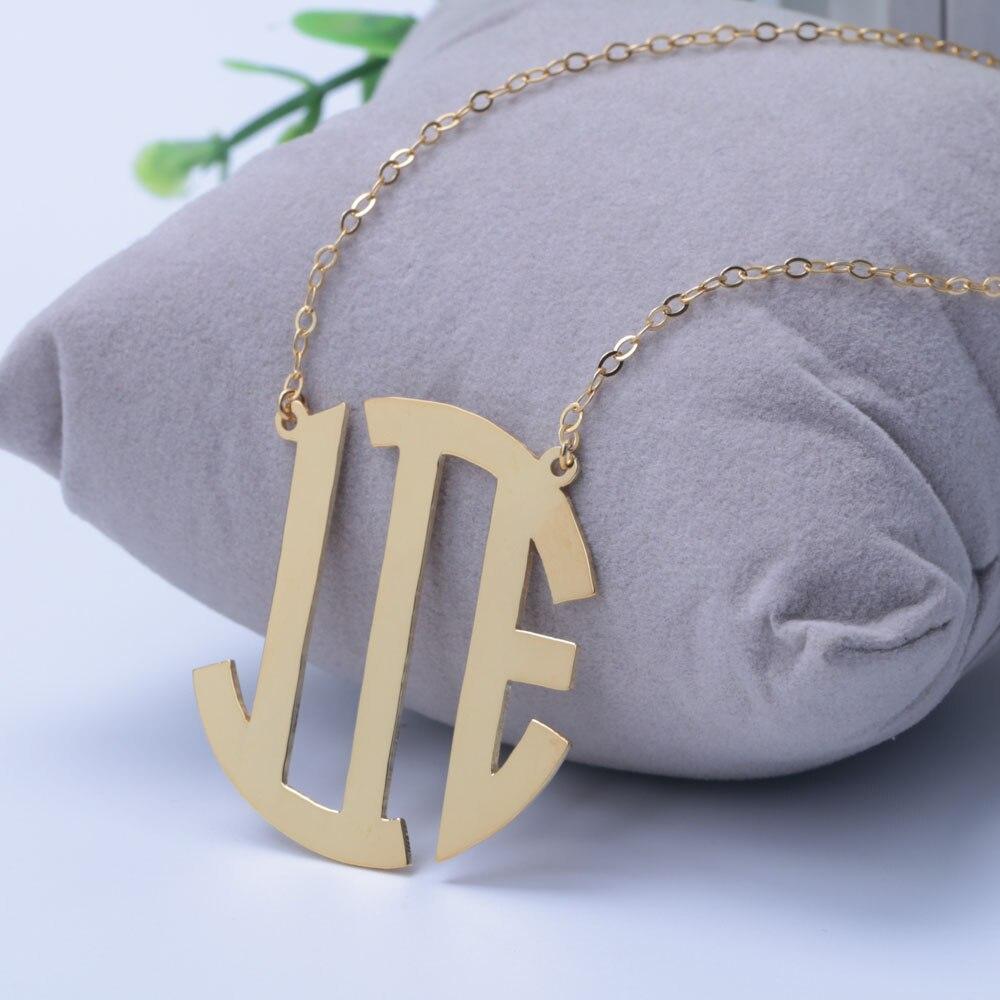 Personnalisé 3 initiales cercle bloc monogrammé collier 925 or Pandent avec chaîne collier personnalisé pour amoureux