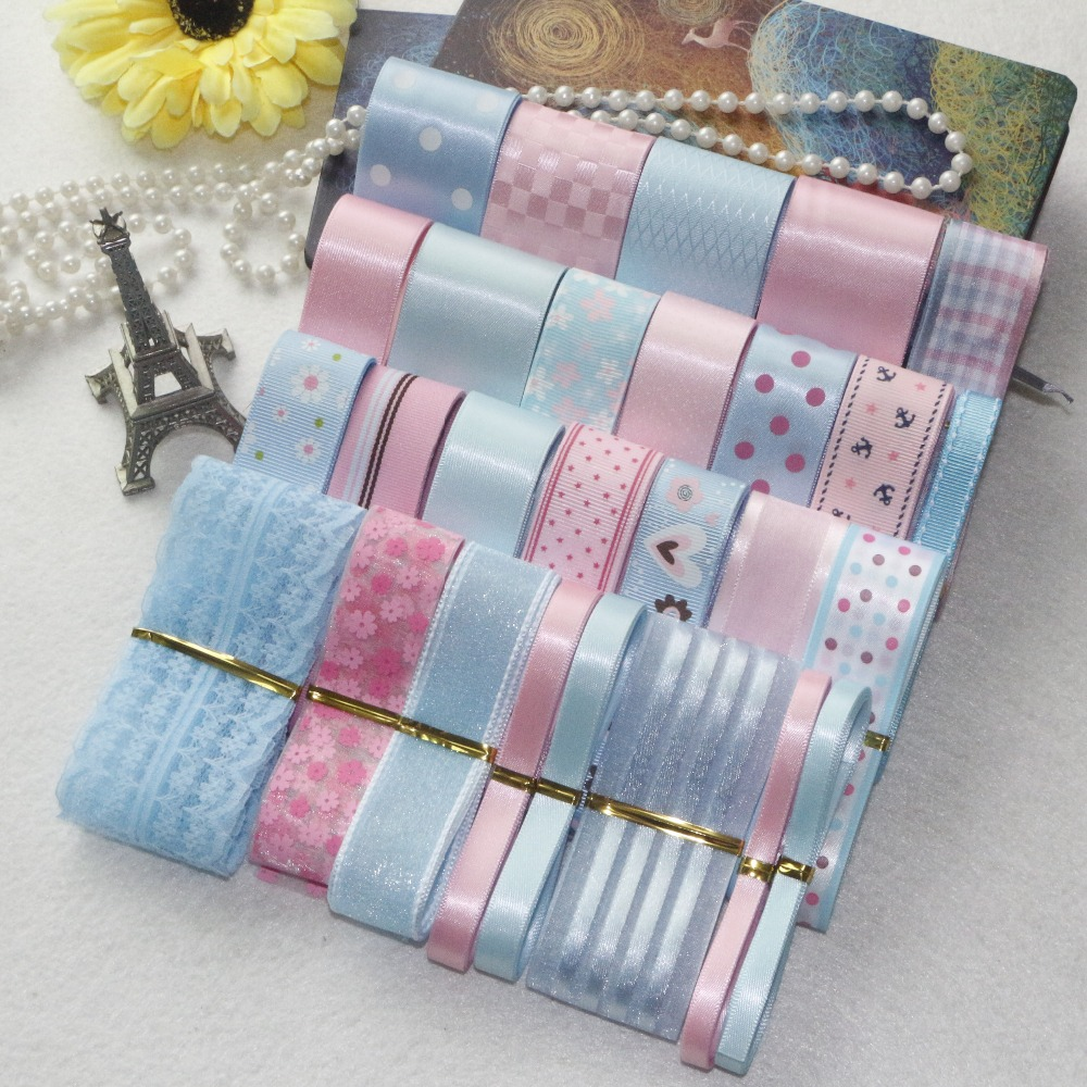 NY STIL! DIY Ribbon Set --- Pink & Light Blue Color Mix Ribbon Set (totalt 31 meter)