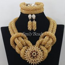 2015 Gorgeous African Costume Jewelry Set Champagne Gold Crystal Beads Jewelry Set Nigerian Party Wedding Necklace Set AIJ124