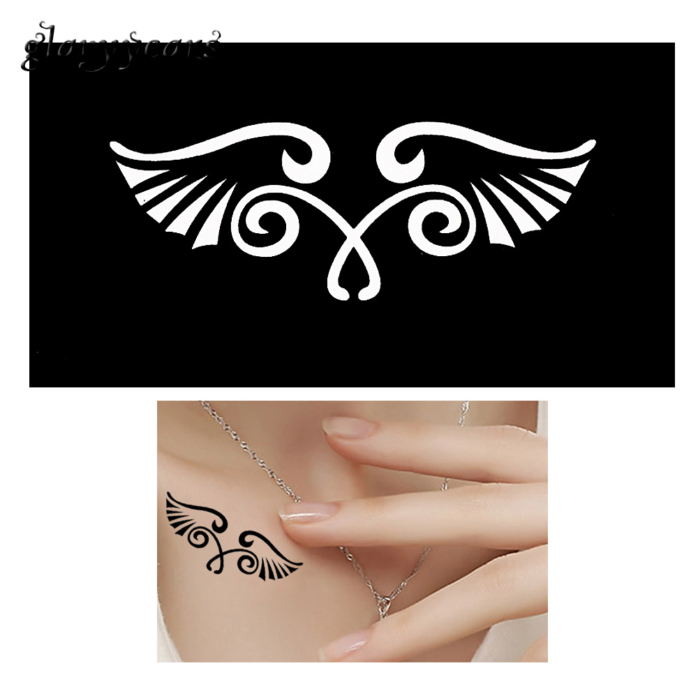 2018 1 Sheet Hollow Henna Mehndi Tattoo Stencil Creative Wing Design Indian DIY Leg Body Art Paint Tattoo Stencil for Women G151
