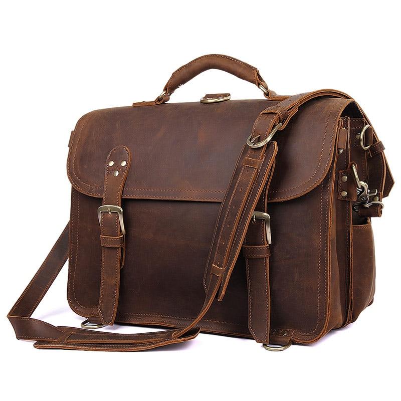 J.M.D Top Crazy Horse Leather Vintage Travel Bag Classic And Fashion Travel Handbag Men's Croess Body Bag 7370R