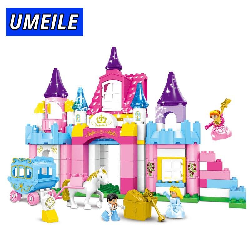 UMEILE bloc enfants fille jouets 146 pièces rose fille princesse Prince chariot château bricolage brique bloc de construction Compatible avec cadeau Duplo
