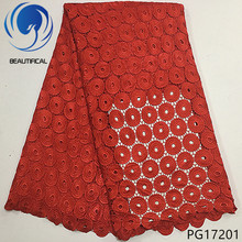 BEAUTIFICAL red guipure lace fabric african cord 2018 nigerian fabrics high quality hot sales dress 5yards/lot PG172