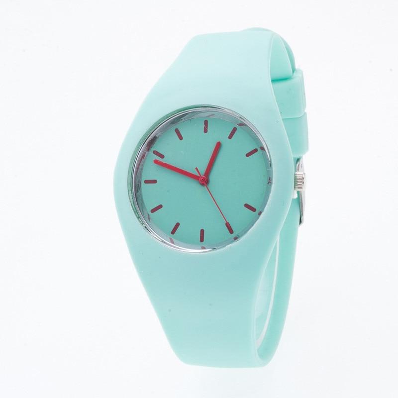 Zegarki sportowe dla Pani Kolorowe Silikonowe Bransoletki Zegarek - Zegarki damskie - Zdjęcie 2