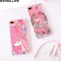 STROLLIFE Cartoon Flowers Unicorn Dynamic Liquid Quicksand Pink Sequins Glitter Phone Cases Cover Capa For iPhone 7Plus 5.5inch
