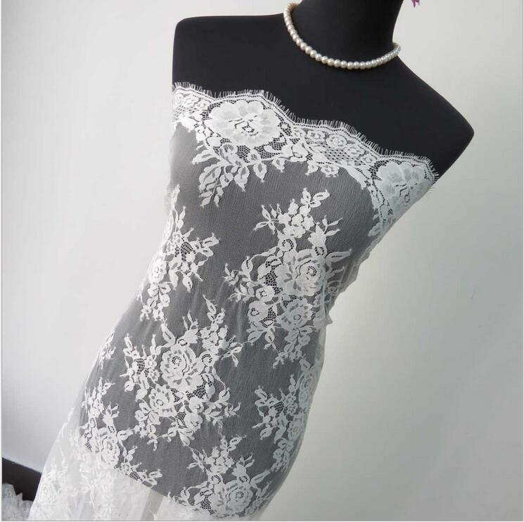 Wedding Gown Fabric Guide: High Quality Off White Black Chantilly Lace Eyelash French