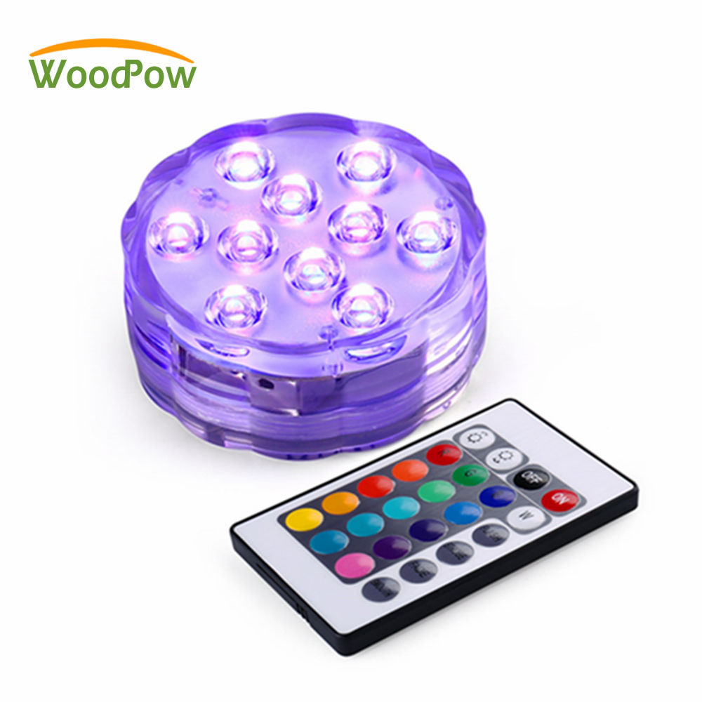 WoodPow Underwater 10LED Multi Color Spotlight Waterproof RGB Light Wireless Remote Control For Aquarium Pool Bar Decoration