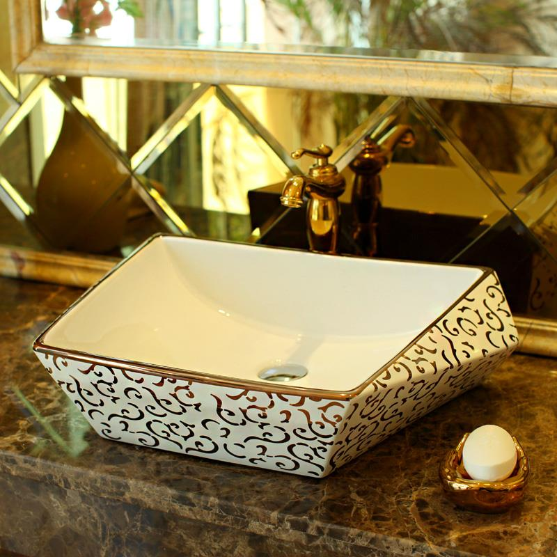 New Design Luxurious Silver Porcelain Bathroom Vanity Sink Bowl Countertop Rectangular Ceramic Wash Basin In Sinks From Home