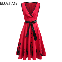 夏のファッションかわいいサンドレスアニメ猫プリントのヴィンテージドレス女性秋セクシーなパーティークラブ摩耗ガウンプリーツチュニックローブフェムセクシー赤xxl