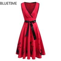 Summer Fashion Cute Sundress Anime Cat Print Vintage Dress Women Autumn Sexy Party Club Wear Gown Pleat Tunic Robe Femme Red XXL