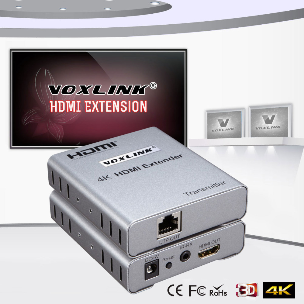 VOXLINK 50m HDMI Network Extender Transmitter Receiver Over Single Cable with IR CAT5E/6 Ethernet Cable 4Kx2K 1080P 3D hsv379 hdmi extender over coaxial cable with no latency time and video lossless hdmi coax transmitter and receiver by rg59 6u