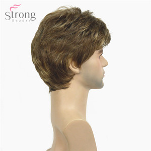 Image 4 - StrongBeauty Men Short Wig Light Brown mixed Synthetic Natural Full Wigs