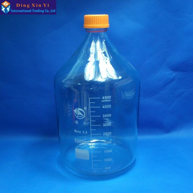 Claro de 5000 ML botella de reactivo de vidrio con tapa de tornillo de pared gruesa botella de reactivo de laboratorio de envío gratis-in Botella de laboratorio from Suministros de oficina y escuela    1