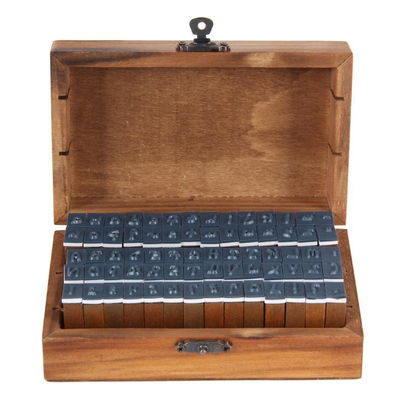 70pcs/set Vintage DIY Multi Purpose Regular Script Number Lowercase Alphabet Letter Decoration Wood Rubber Stamps Set Wooden Box