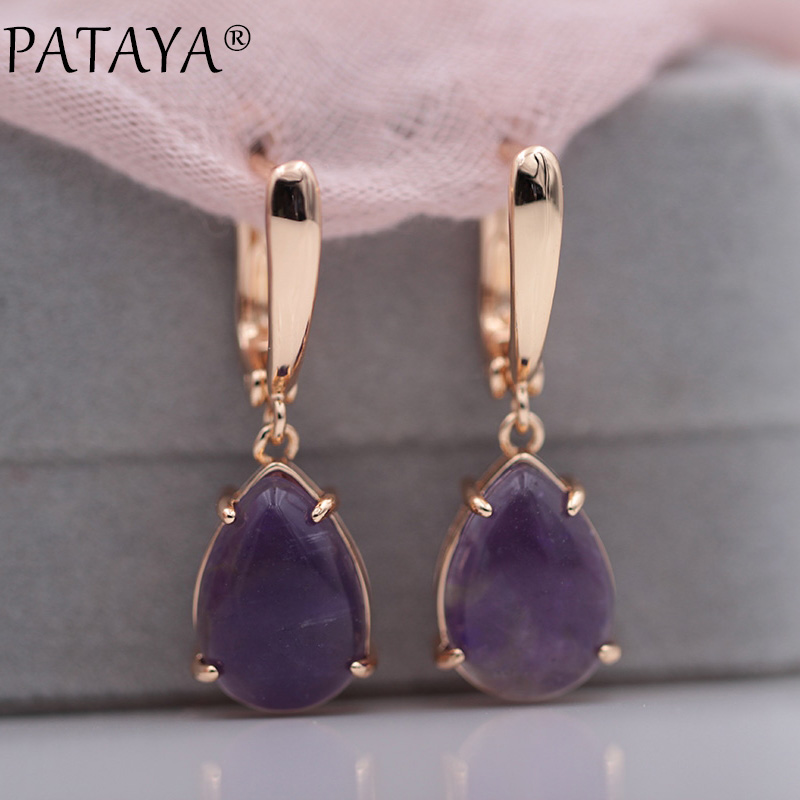 PATAYA New Arrivals Onyx Stripe Water Drop Natural Stone Dangle Long Earrings 585 Rose Gold Women Wedding Party Jewelry Gift yoursfs dangle earrings with long chain austria crystal jewelry gift 18k rose gold plated
