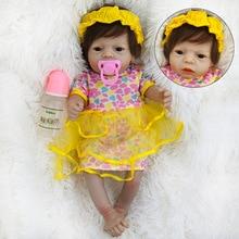 купить Boneca Reborn 22inch Vinyl Doll 55cm Full Body Silicone Reborn Baby Girl Doll Lifelike Bebe Reborn Dolls Juguetes Brinquedos по цене 2672.18 рублей
