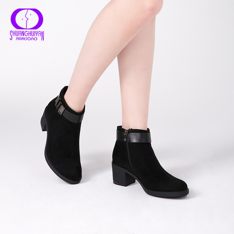 AIMEIGAO New Arrivals Suede Leather Ankle Boots For Women Thick Heels Shoes Warm Short Plush Boots Spring Autumn Women ShoesAIMEIGAO New Arrivals Suede Leather Ankle Boots For Women Thick Heels Shoes Warm Short Plush Boots Spring Autumn Women Shoes