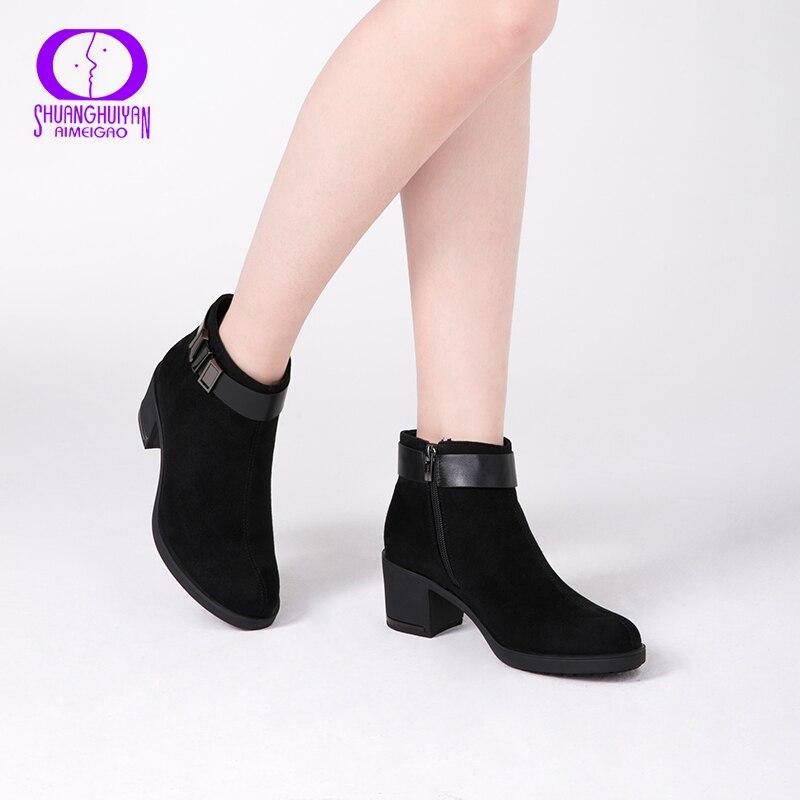 De Llegadas Gruesos Nuevas Peluche Black Cuero Primavera Gamuza Mujer Para Tobillo Otoño Corto Zapatos Aimeigao Botas Tacones 5vEqwd5n