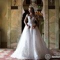 Nueva Llegada de La Boda Vestidos de Novia de Longitud Fuera del Hombro de Encaje Apliques de Perlas de Cristal Cinturón Desmontable Tren Vestido de Novia