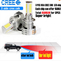 2x 55W 4500LM H4 High/Low Beam LED Headlights Lamp Motorcycle Head Lights Bulb 6500K White