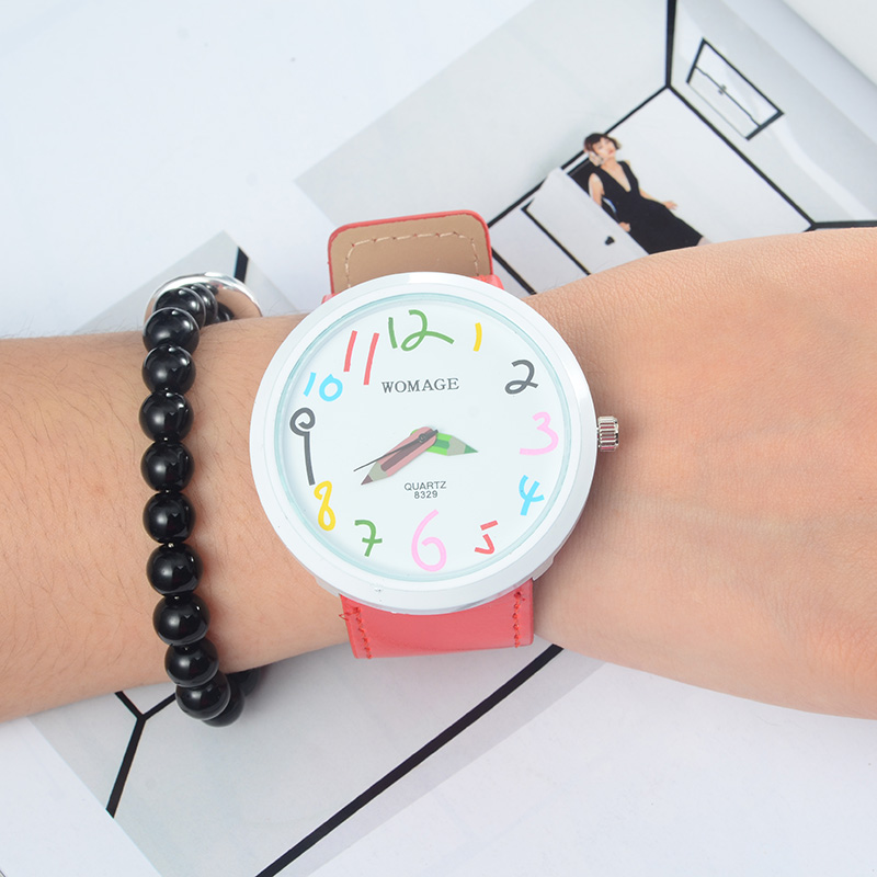 Women Watches Colorful Pencil Pattern Watch Children Wristwatch Kids Watches Girls Boys Clock saat montre femme relogio feminino joyrox minions pattern children watch 2017 hot despicable me cartoon leather strap quartz wristwatch boys girls kids clock