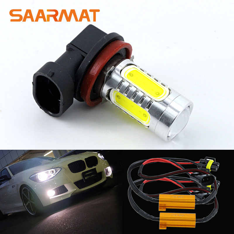 2pcs White H11 H9 H8  Car LED Bulb Fog Light  DRL + Canbus Decoders Error Free For BMW Audi VW Ect