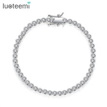 Luoteemi marca novo design tênis pulseira para as mulheres elegante festa data pulseira feminina luxo redondo cz feminino presente de natal
