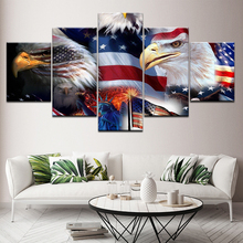 Modern 5 Panel Eagle American Flag Wall Art Canvas Painting Modular Printed Poster bedroom living Room Home Decor Picture mural