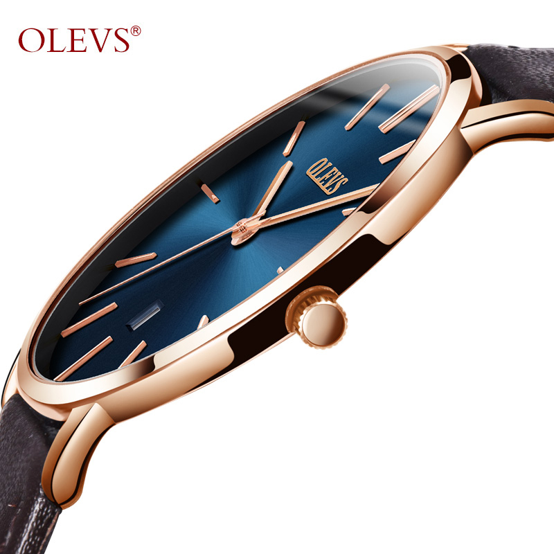 Ultra Thin Quartz Watch Men OLEVS Luxury Rose Gold Men Watch Blå Dial Vattentät Brun Läder Armbandsur med Datum 2018