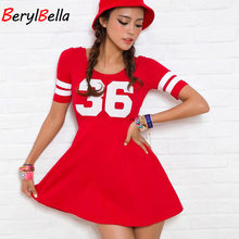 2018 Summer Women Bandage Dress 100%Cotton Sexy Casual Short Sleeve Dresses 36 Letter Printed O-Neck Party Beach Vestidos Female(China)