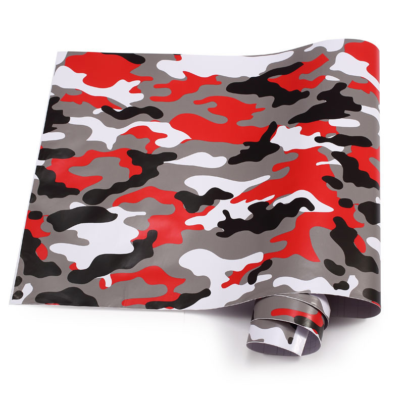 Premium Camo Vinyl Car Wrap Black White Red Green Camouflage Film Sticker  For Car Scooter Motorcycle Decoration