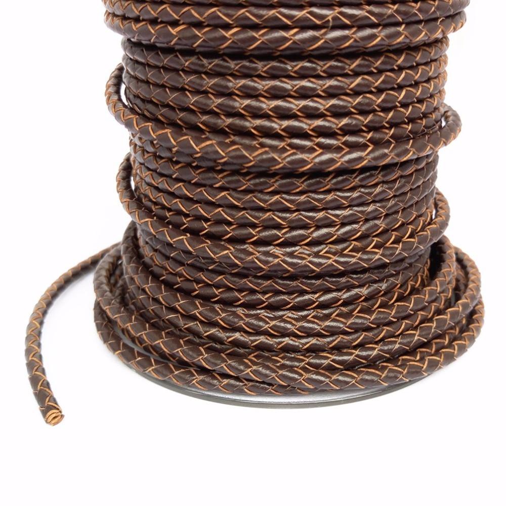 À propos de l'ajustement 3mm 30 mètres cordon en cuir véritable tressé artisanat en cuir véritable perles accessoires de laçage fabrication de bijoux corde tissée